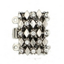 Claspgarten Silver textured clasp with 3 rows 13440 - 20x13mm