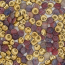 40 x 6mm lentils in Red Marble/Gold