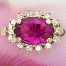 Claspgarten Gold clasp with Oval Fuchsia Crystal and 1 row 13912 - 21x16mm