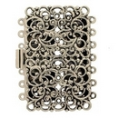 14698 - Claspgarten Old Silver filigree clasp with 7 rows - 44x27mm
