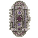 14703 - Claspgarten very large Old Palladium clasp with 7 rows in Tanzanite - 61x31mm