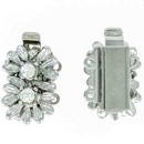 Claspgarten Silver flower clasp with 2 rows 13860 - 17x10mm