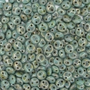25 x Turquoise Bronze Picasso two hole CzechMate Lentils