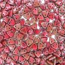 50 x Opaque Red Picasso two hole Triangles