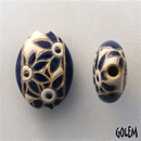 ABC-004-C-M almond bead in Blue Flowers