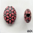 ABC-013-C-M - Golem Studio almond bead in Pink Leaves and White Dots