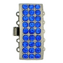 14113 - Claspgarten Tin clasp with 5 rows and Sapphire crystals - 28x12mm