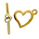 Claspgarten Gold Heart Toggle clasp with 1 row 12864 - 15x13mm