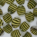 Cab129 - 18x13mm sew on cabochon with Black/Yellow strips (1950-60s)