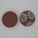 CLB-008-F-M White daisies on Wine Cabochon