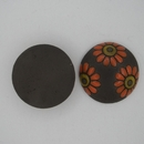 CLB-041-B-M Orange Daisies on Dark Cabochon