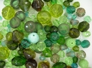 25g of faceted beads in Green from Preciosa