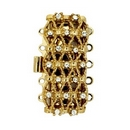 Claspgarten Gold textured clasp with 5 rows 13582 - 28x12mm