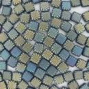 6mm Czech Tiles in Matt Iridescent Blocky Swirl