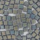 6mm Czech Tiles in Matt Iridescent Swirl