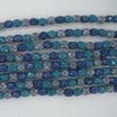 4mm string of snake skin beads in Ocean Mix