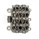 Claspgarten Silver textured clasp with 3 rows 13581 - 20x12mm
