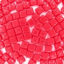 25 x 6mm silky beads in Opaque Red