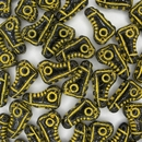 Pair of 15mm Black and Yellow Shoe beads