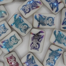 2 x 19mm Laser etched Iridescent Owls
