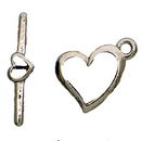 Claspgarten Silver Heart Toggle clasp with 1 row 12864 - 15x13mm