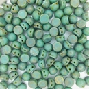 Turquoise Copper Picasso two hole CzechMate Cabochons