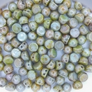 10 x CzechMate Cabochons in Opaque Ultra Green Lustre