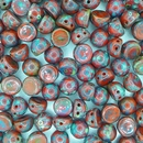 10 x Opaque Red Picasso two hole Cabochons
