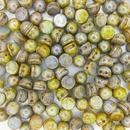 10 x Opaque White / Green Lustre two hole Cabochons