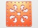 30mm Orange Red Laser Cut Cabochon - Square