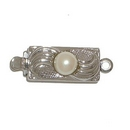 Claspgarten Silver clasp with 1 row 13318 - 12x6mm