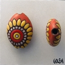 ABC-008-C-M almond bead in Terracotta Dragons Eye