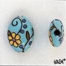 ABC-027-D-M almond bead in Light Blue Vintage Flowers