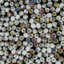 50 x 4mm faceted beads in White Vitrail