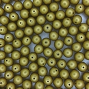 10 x 8mm round Metallic Olivine beads