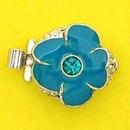 Claspgarten Ocean Enamel Flower Silver clasp with 1 row 14801 - 13mm