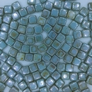 25 x 6mm Czech Tiles in Alabaster/Blue Lustre