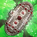 Claspgarten very large Old Palladium clasp with 7 rows 14703 Siam Red - 61x31mm