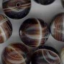 4 x 12mm round Brown/Cream Marble beads (1960s)