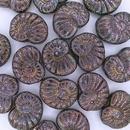 6 x Ammonite Shell in Black Iris (17x13mm)