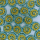 4 x 18mm Fossils in Turquoise/Gold