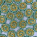 4 x 18mm Fossils in Green Turquoise/Gold
