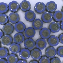 4 x 14mm Hawaiian Flowers in Opaque Blue Picasso