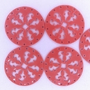 27mm Round Laser Cut Cabochon in Coral