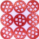 27mm Round Laser Cut Cabochon in Red Silk
