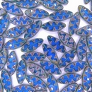 10 x table cut Spindle beads in Capri Blue Picasso (18x7mm)