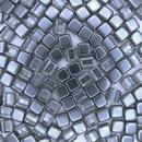 20 x 6mm Czech tiles in Crystal/Grey