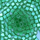 20 x 6mm Czech tiles in Crystal/Metallic Olivine