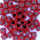 25 x 6mm Laser etched Matt Red Czech Tiles with Chrome Hearts