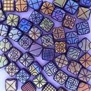 25 x 6mm Czech tiles in Matt Dark Red with Laser etched Patterns